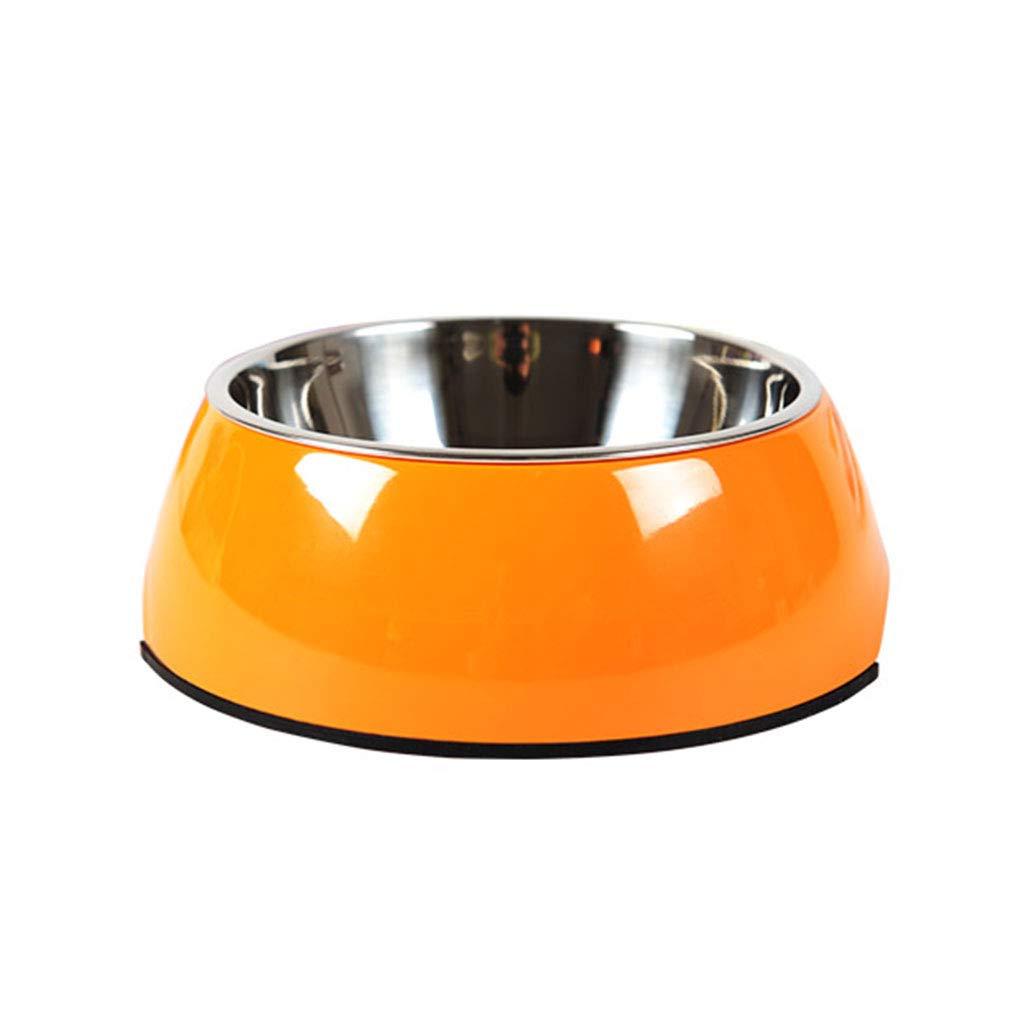 orange S orange S Dog Pot Dog Bowl pet cat Bowl Double Bowl Large Dog Rice Bowl Stainless Steel Dog Food Bowl Dog Supplies (color   orange, Size   S)