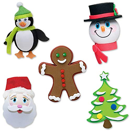Tenna Tops Christmas Holiday Car Antenna Toppers/Antenna Balls/Rear View Mirror Danglers (Santa, Frosty, Penguin, Gingerbread, Christmas Tree) Auto Accessories (Pack of 5)
