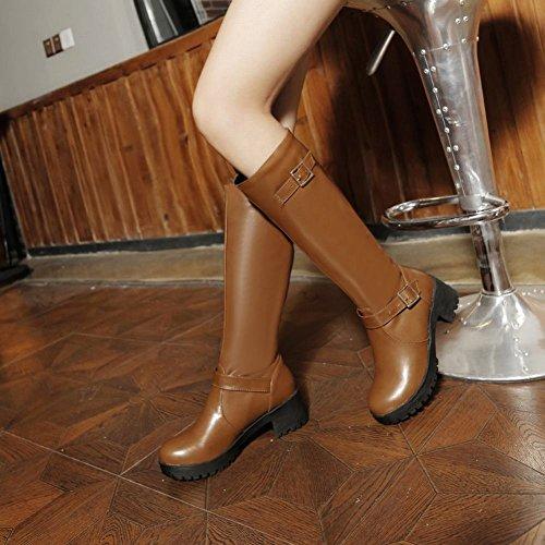Meerjarig Damesmodel Met Gespen, Eenvoudig Comfort, Lage Hak, Halflange Laarzen, Geelbruin