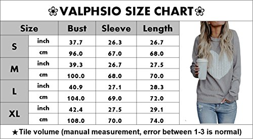Valphsio Womens Sweaters Long Sleeve Cable Knit Love Heart Pullover for Her by Valphsio (Image #3)
