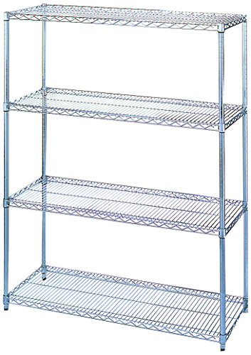 Wesco Industrial Products 272641 Chrome Plated Wire Shelving Starter Unit, 2400 Pound Capacity, 36