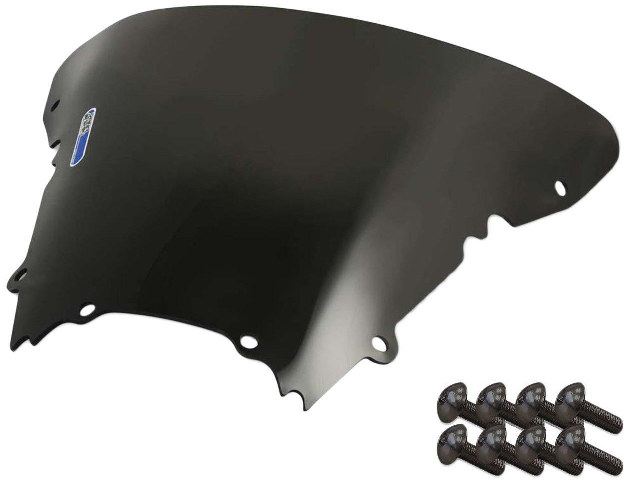 Sportbike Windscreens ADYW-301DS Dark Smoke Windscreen (Yamaha R6 (99-02) with Silver Screw Kit), 2 Pack