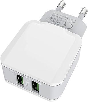 CtopoGo Cargador de Enchufe USB de 2.4A/12W de 2 Puertos con un ...