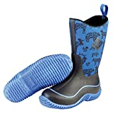 Muck Boot Unisex-Kids Hale Print Rain Boot, Black/Blue, C7 Regular US Big Kid