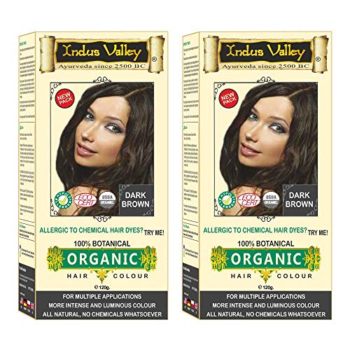 Indus valley 100% Botanical Dark Brown Organic Hair Color For Sensitive Skin - Pack of 2
