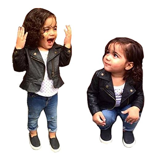Spring Autumn Baby Girl's Motorcycle Jackets PU Leather Coat Bike Blazer
