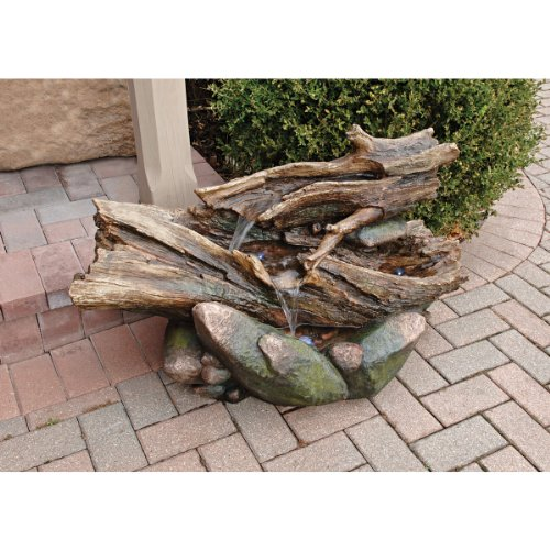 22'' Classic Meditative Oasis Tree Trunk Natural Stone Home Gallery Garden Fountain by Artistic Solutions