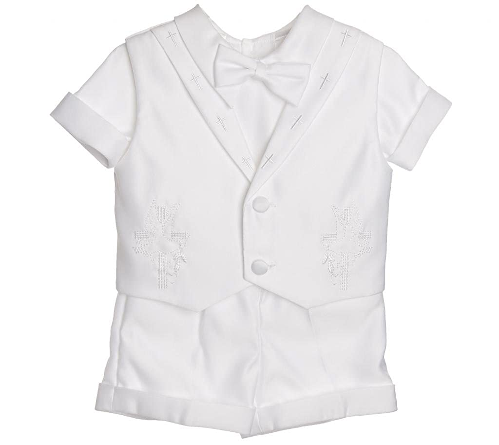 Baby Boy Baptism Outfit - with Embroidered Cross Collar Vest All White Christening Short Set