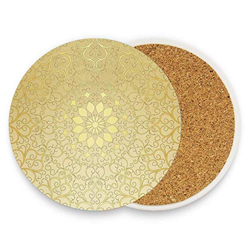 Asefcnxkjii Round Antique Motif Curvy Stylized Ornate Heart Shape Arabesque Influences 1 Piece Round Cork Backing Bar Coasters For Drink Board Bottom, Absorbent and Reusable