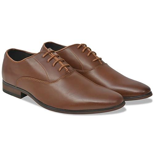 vidaXL Zapatos de Vestir Negocios para Hombre Cordones Marrón Talla 42 Cuero PU: Amazon.es: Zapatos y complementos