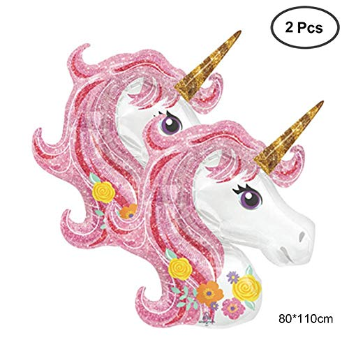 Party Supplies Rainbow Unicorn Shape Mylar/Foil Balloon for Unicorn Party Supplies and Girls Birthday Decorations, Birthday Party Supplies for Women,3COLORS,(Large,110x80cm,2PACK) Pink