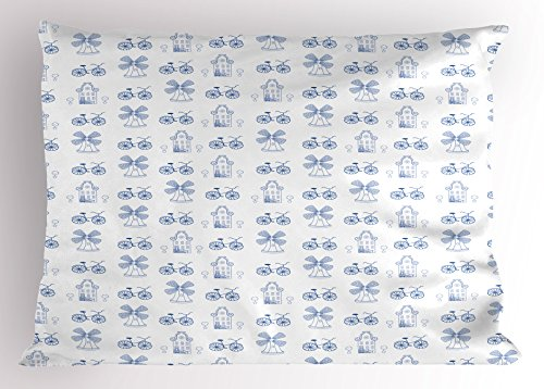 Ambesonne Bicycle Pillow Sham, Dutch Ornament Drawings in Blue Windmill Narrow House Bicycle Topiary Tree, Decorative Standard Queen Size Printed Pillowcase, 30 X 20 Inches, White Night Blue (Topiary Standard)