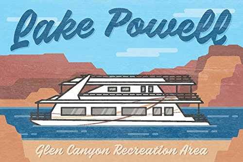 Lake Powell - Glen Canyon National Recreation Area - Houseboat Beach Scene Press (24x36 SIGNED Print Master Giclee Print w/Certificate of Authenticity - Wall Decor Travel Poster)