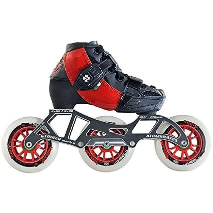Luigino Atom Kids Adjustable Challenge 3-Wheel or 4-Wheel Inline Speed Skate Package with Striker Frame, Atom Matrix Wheels- 3x100 Red Small (13J-2)