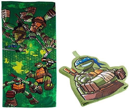 Nickelodeon Teenage Mutant Ninja Turtles 2-Piece Bath Towel and Bath Mitt - Turtle Ninja Queen Sheets