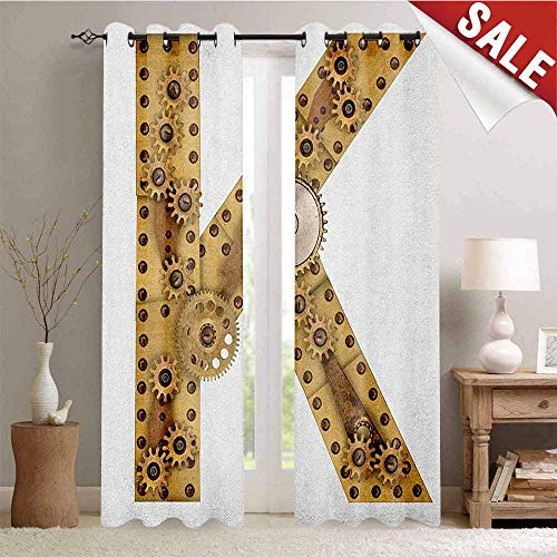 Hengshu Letter K Drapes for Living Room Letter with Cyberpunk Industry Theme Design Cogwheels Brass in Vintage Style Image Window Curtain Fabric W72 x L96 Inch Sand Brown