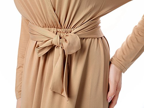 Manicotto Kaki Avacostume Tie Abbigliamento Lunghi Blocco Color Donne Casual Del vita Abiti 77RqP5n