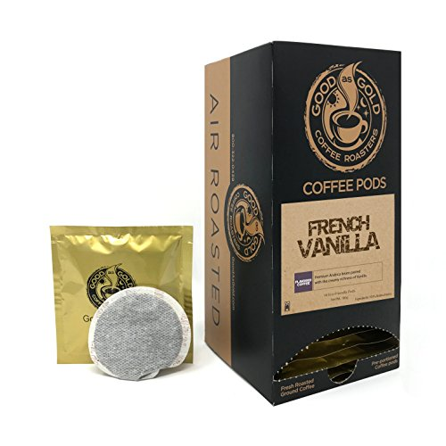 FRENCH VANILLA COFFEE PODS, Good As Gold Coffee, (18 Pods) - works in Senseo & Hamilton Bean Coffee Pod Brewer ()