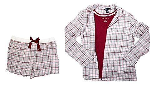 - Nautica Button Front Shirt, Tank Top & Boxers 3-Piece Pajama Set, Grey Plaid/Raspberry, XXL