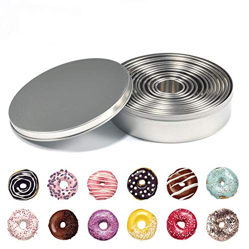 12 Pcs Stainless steel Round Cookie Biscuit Cutter Baking Metal Ring Molds for Dough Fondant Donut Muffins Cookies by Fdit
