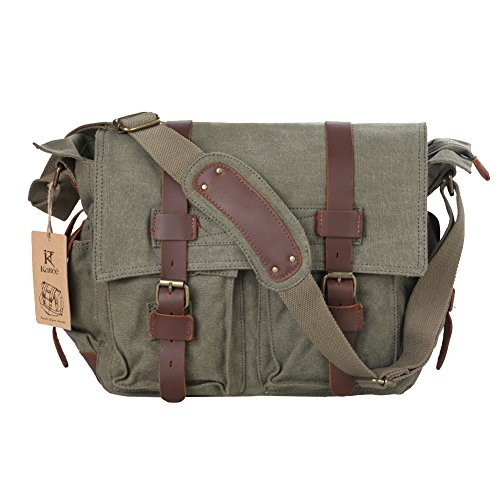 Kattee Men's Canvas Cow Leather DSLR SLR Vintage Camera Shoulder Messenger Bag Light Green