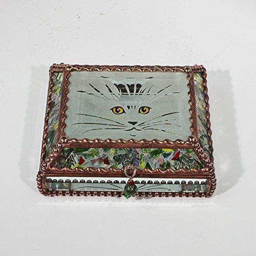 Kitten, Cat Eyes, Stained Glass Jewelry Box, Presentation Box, Keepsake Box, Glass Jewels, Swarovski Crystals, USA Made by Glass Treasure Box