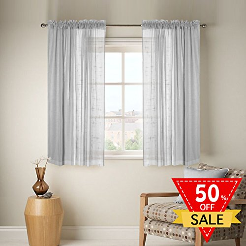 Feature 3 Feet Sheer Curtain (FlamingoP Linen Sheer Curtains with Two bonus tie-back for Bedroom, Back Tab/Rod Pocket, W52 inch X L63 inch, Light Gray (Set of 2 Panels))