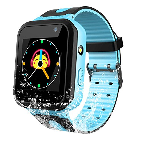 Waterproof Kids Smart Watch for Girls Boys - IP67 Waterproof Children Smartwatch with GPS/LBS Tracker SOS Camera Anti-Lost for Summer Outdoor Sports Watch Phone (Blue)