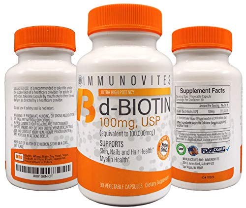 3-Pack High Dose d-Biotin 100mg (Equivalent to 100,000mcg) 90ct Each Bottle - Veggie Capsule