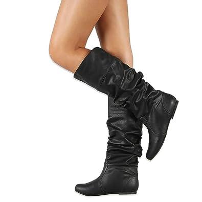 New Women Black Slouchy Riding Mid-Calf High Heel Boots