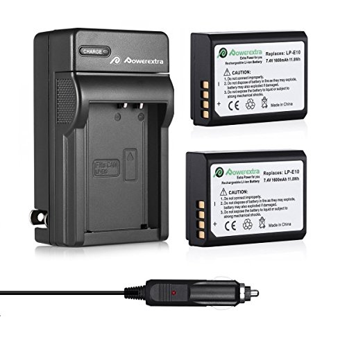 Powerextra 2 Pack Replacement Canon LP-E10 7.4V 1600mAh Li-ion Battery together with Charger For Canon EOS Rebel T3 T5 T6 Kiss X50 Kiss X70 EOS 1100D EOS 1200D EOS 1300D Digital SLR Camera(Car Charger as Bonus)