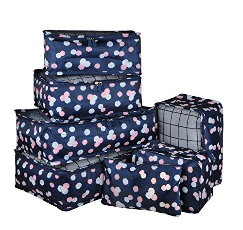 Vercord 7 Set Travel Packing Organizers Cubes Mesh Luggage Cloth Bag Cubes With Bra/Underwear Cube and Shoe Pouch, Navy Flower