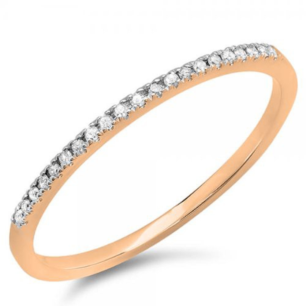 0.08 Carat (ctw) 10k Rose Gold Round White Diamond Ladies Dainty Anniversary Wedding Band Stackable Ring (Size 7.5)
