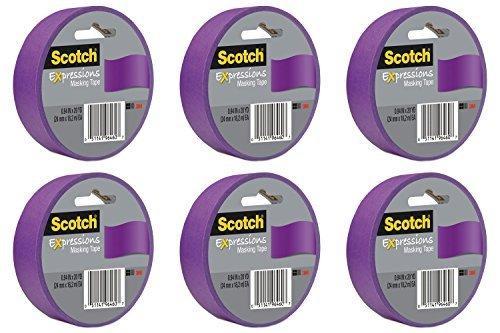 Scotch Expressions Masking Tape, 0,94-Inch x 20-Yards, Purple (MMM3437PUR), 6 Packs