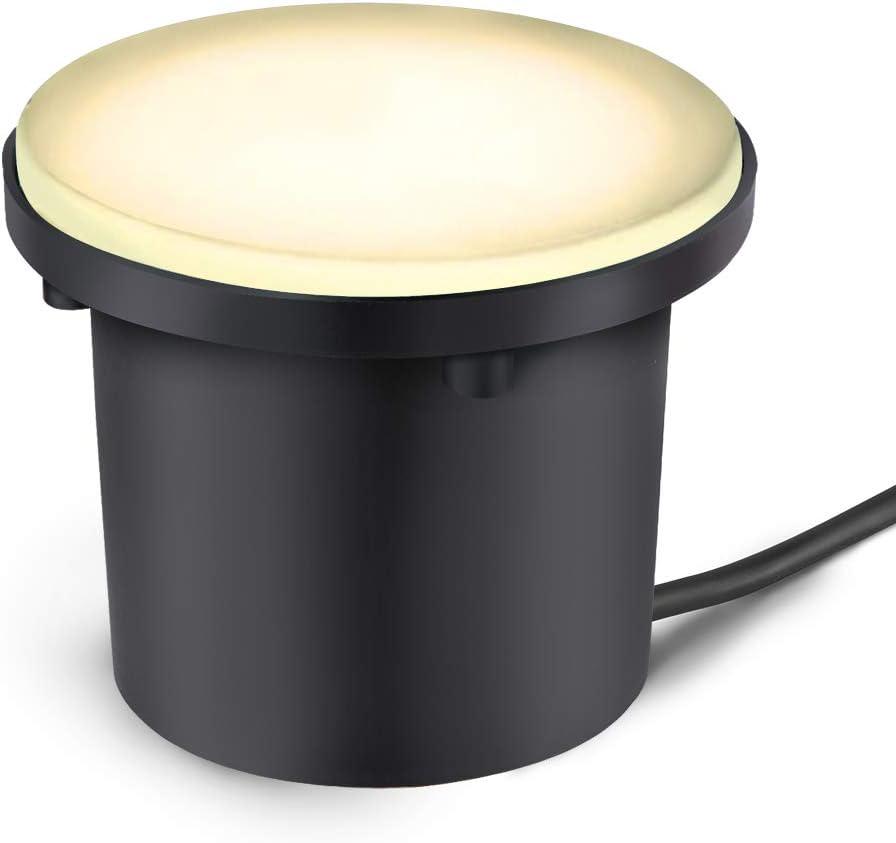 RSN LED 3W Landscape Lights, 12V Low Voltage LED Well Lights, Ground Lights IP67 Waterproof, 100 Lumen Landscape Lighting for Step, Driveway, Deck, Garden Lights Outdoor (Warm White)