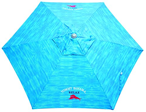 Tommy Bahama 7-Foot Outdoor UPF50+ Sun Protection Wind Vent Market Beach Umbrella - Turquoise Logo