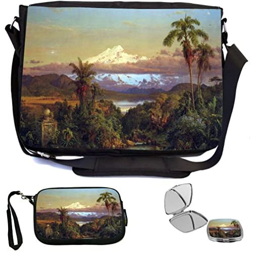 Rikki Knight Frederick Edwin Church Art Cayambe, Ecuador Design COMBO Multifunction Messenger Laptop Bag - with padded insert for School or Work - includes Wristlet & Mirror