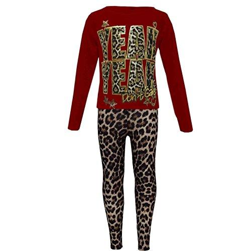 Girls Fiesta Impreso Top 10 T s 4 13 Legging os 7 11 Leopard Shirt 12 de A2z New Rojo 9 A Moda Set Kids Edad y 8 IHf8XwHxqt