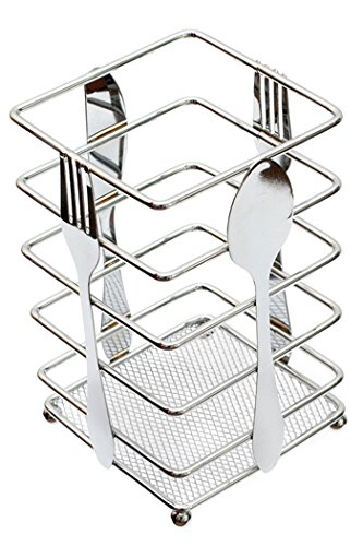 "Utensil Holder Kitchen Flatware Forks Cutlery Storage Organizer Chrome Steel Suqare 3.9""L x 3.9""W x 6.3""H"