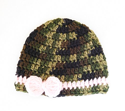 Crochet Baby Hat, Camo Colors with Pink Bow