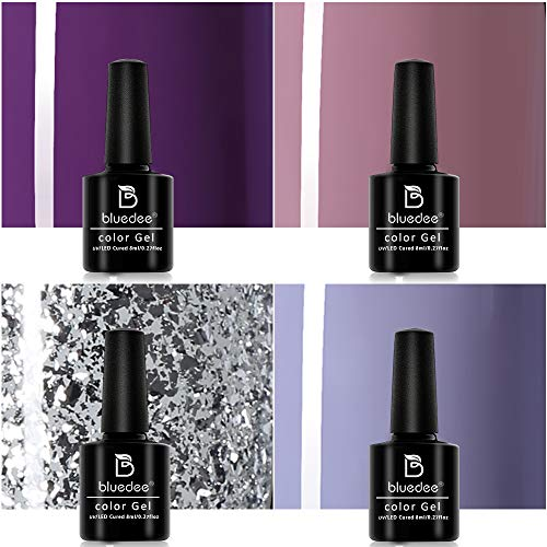 Bluedee 4 Color Gel Polish Starter Kit Classic Series Gel Nail Set with UV Light Base Coat No Wipe Top Coat Manicure Kit Nail Art Tools Purple Glitter Fall Autumn Nail Polish