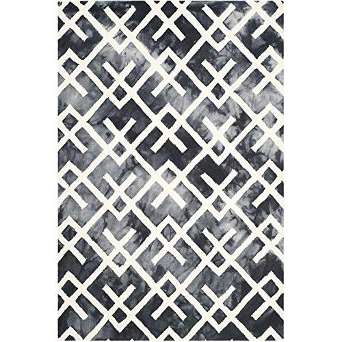 Safavieh Dip Dye Collection DDY677J Handmade Geometric Watercolor Graphite and Ivory Wool Area Rug 4 x 6
