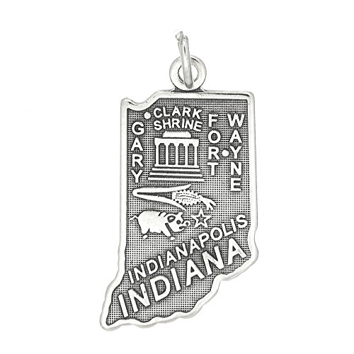 (Sterling Silver Oxidized One Sided State of Indiana Charm)