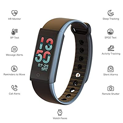 Fitness Tracker Watch with Heart Rate Monitor, Wearable Pedometer with Blood Pressure Monitor and Smart Bracelet Bluetooth Wristband with waterproof Screen New for Kids, Men, Women(US Version)