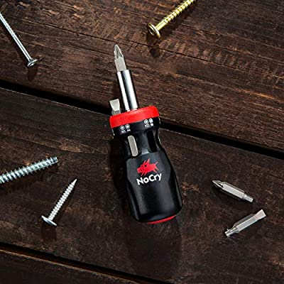 NoCry Stubby Ratcheting Screwdriver Kit with 12-in-1 Mini Bit Set including Flathead, Hex, Torx and Pozidriv Tips: Home Improvement