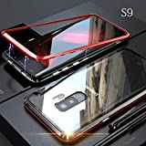 yodaliy Magnetic Cell Phone Case, Full Body Ultra-Thin Mobile Phone Case - Tempered Glass Clear Back - Magnetic Metal Frame for Samsung S9, S9 Plus, S8, S8 Plus. (for Samsung S8,Black+Red)