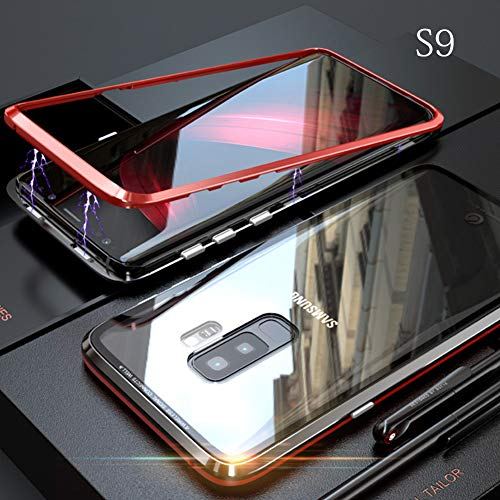yodaliy Magnetic Cell Phone Case, Full Body Ultra-Thin Mobile Phone Case - Tempered Glass Clear Back - Magnetic Metal Frame for Samsung S9, S9 Plus, S8, S8 Plus. (for Samsung S9,Black+Red) by yodaliy