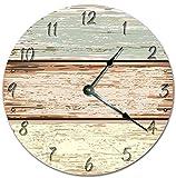 horizontal wood fence OSWALDO Vintage Horizontal Wood Fence Cartoon Design Clock Decorative Round Wooden Wall Clock - 12 inch