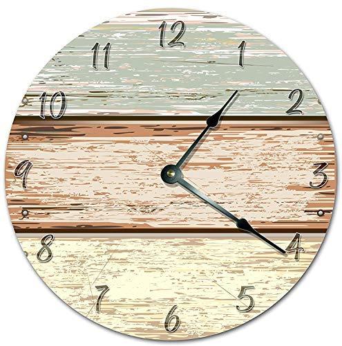 OSWALDO Vintage Horizontal Wood Fence Cartoon Design Clock Decorative Round Wooden Wall Clock - 12 inch