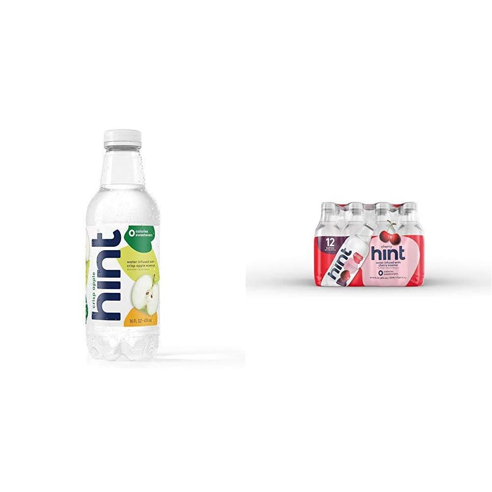 Hint Water Crisp Apple, (Pack of 12) 16 Ounce Bottles, Pure Water Infused with Crisp Apple, Zero Sug|Water Cherry, (Pack of 12) 16 Oz Bottles, Pure Water Infused with Cherry, Zero Sugar, Zero Calo